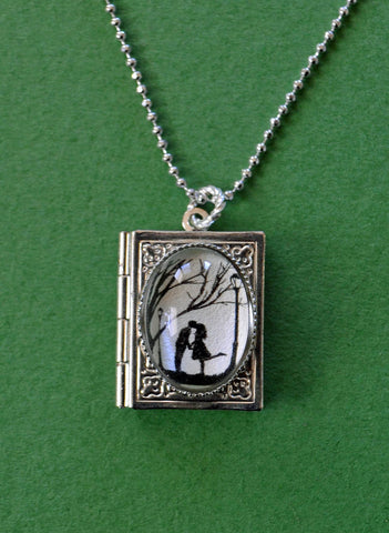 AUTUMN KISS Book Locket Necklace, pendant on chain - Silhouette Jewelry