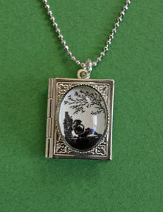 AFTERNOON READING in the PARK Book Locket Necklace, pendant on chain - Silhouette Jewelry