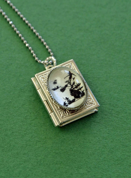 PETER PAN Book Locket Necklace - pendant on chain - Silhouette Jewelry
