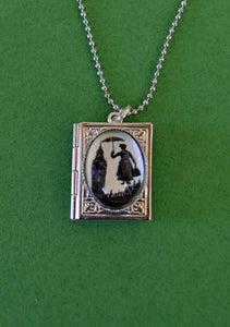 MARY POPPINS Book Locket Necklace, pendant on chain - Silhouette Jewelry
