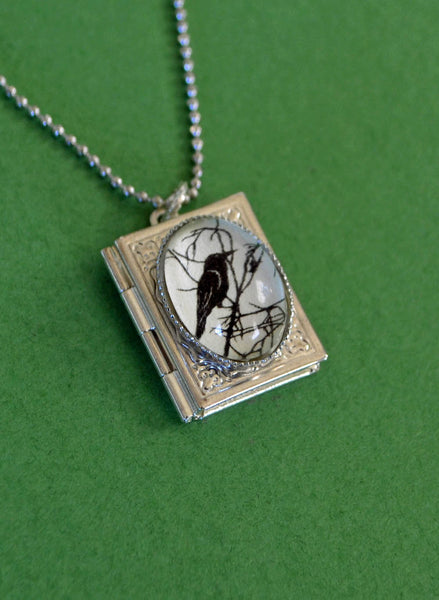 FOR the LOVE of CROWS Book Locket Necklace, pendant on chain - Silhouette Jewelry