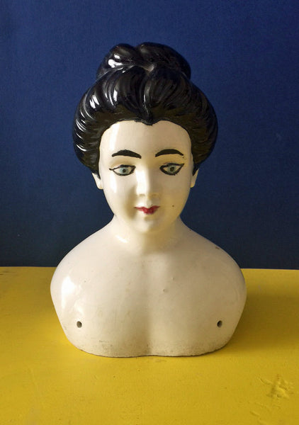 Vintage Ceramic Doll Bust Doll Head with Black Hair Blue Eyes