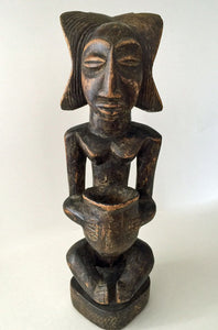 African Wooden Statue Luba Tribe from Congo Woman Bowl Bearer 1960s