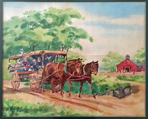 Original Watercolor Painting 50s Signed Countryside Farm Carriage Horse California Vintage