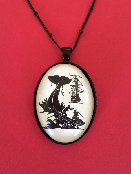 Moby Dick Necklace - pendant on chain - Silhouette Jewelry