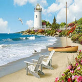 Sunny Beach Lighthouse 5D Diamond Painting Kit
