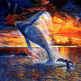 Sunset Whales 5D Diamond Painting Kit