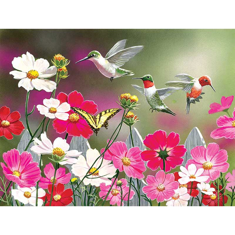 Flowerbed Hummingbirds 5D Diamond Painting Kit