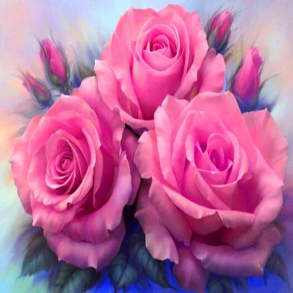 Pink Roses 5D Diamond Painting Kit