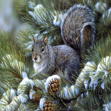 Pine Branch Squirrel 5D Diamond Painting Kit