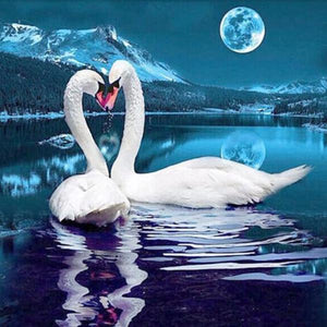 Swans By Moonlight >> Moonlight Swans Diamond Painting Kit With Free Shipping 5d Diamond