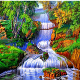 Colorful Forest Waterfall 5D Diamond Painting Kit