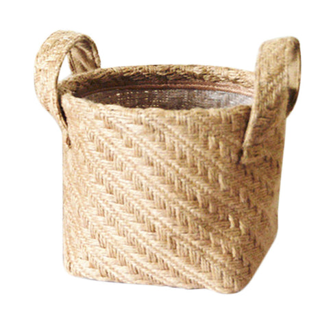 Braided Jute Cloth Storage Basket / Potted Plant Container