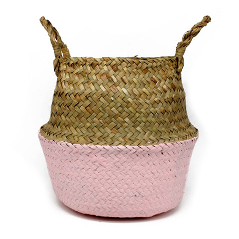 Rattan Basket Straw Basket Garden Foldable Flower Pot