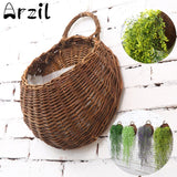 Natural Wicker Potted Plant Wall Container