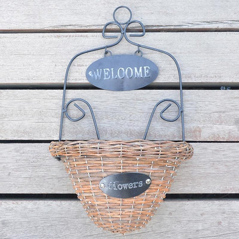 Welcome Wicker Wall Hanging Basket