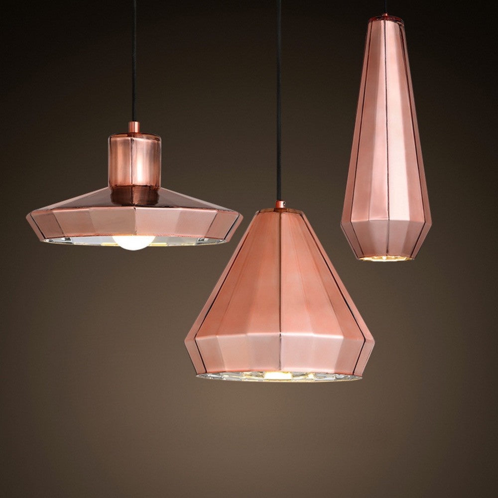Geometric Copper Pendant Light   Staunton And Henry