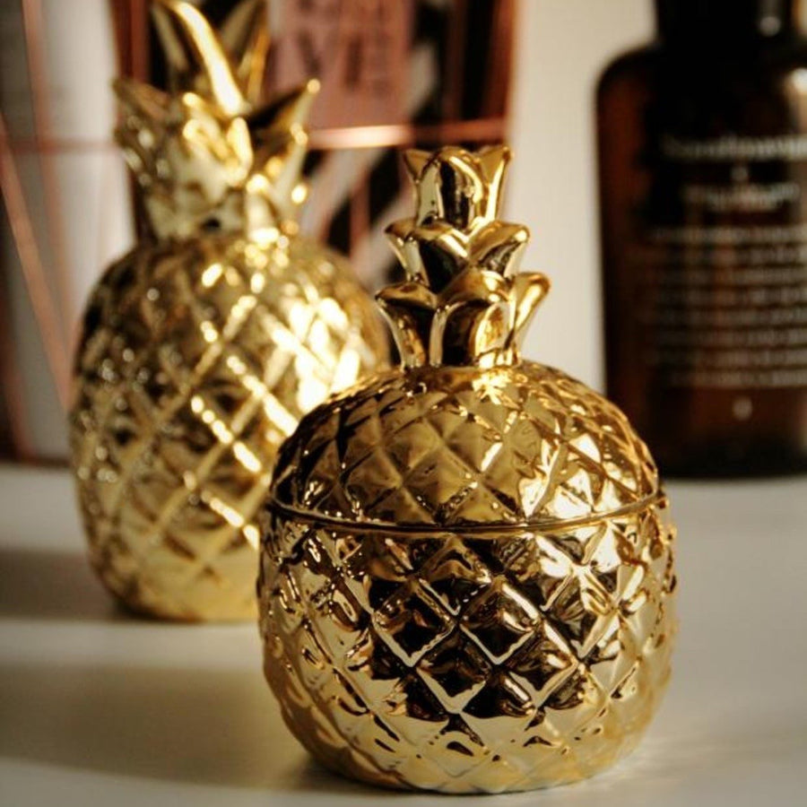 Ceramic Gold Pineapple Container - Staunton and Henry