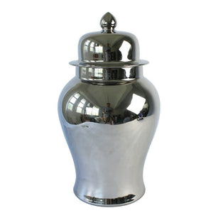 Silver Ceramic Chinese Urn