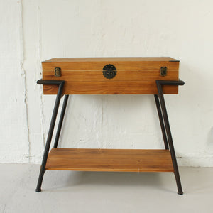 Vintage Style Wood & Steel Console Table Chest
