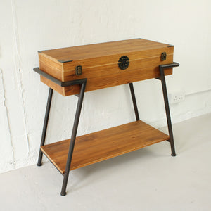 Vintage Style Wood & Steel Console Table Chest - Staunton and Henry