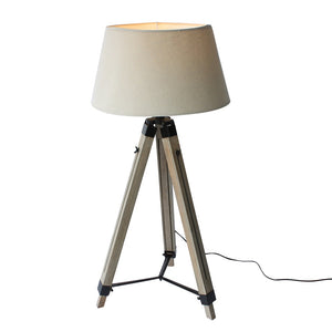 Wood Tripod Floorlamp with Black Shade - Staunton and Henry