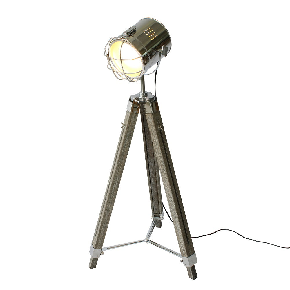 Buy wood tripod spotlight floorlamps at 20 off staunton and henry wood tripod spotlight floorlamp mozeypictures Images