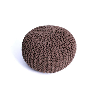 Brown Woven Cotton Pouf
