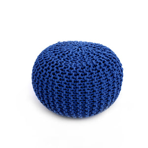 Dark Blue Woven Cotton Pouf