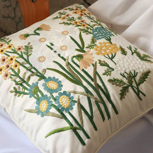 Embroidered Botanical Pattern Throw Cushion - Staunton and Henry