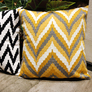 Embroidered Yellow and Grey Throw Cushion - Staunton and Henry