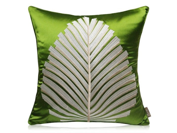 Embroidered Green Velvet Fern Leaf Cushion - Staunton and Henry