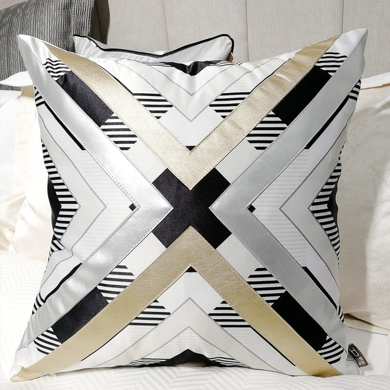 Gold Black and White Throw Cushion - Staunton and Henry