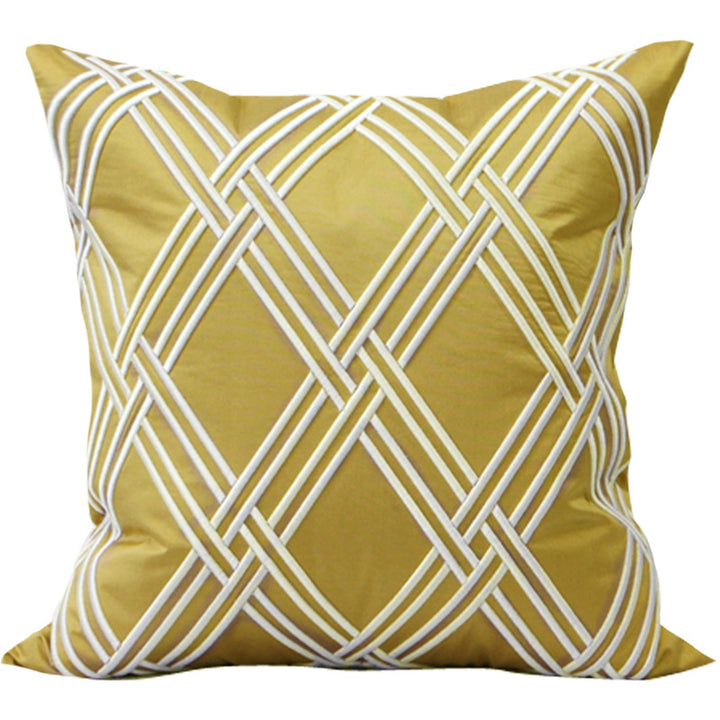 Embroidered Yellow Satin Throw Cushion - Staunton and Henry