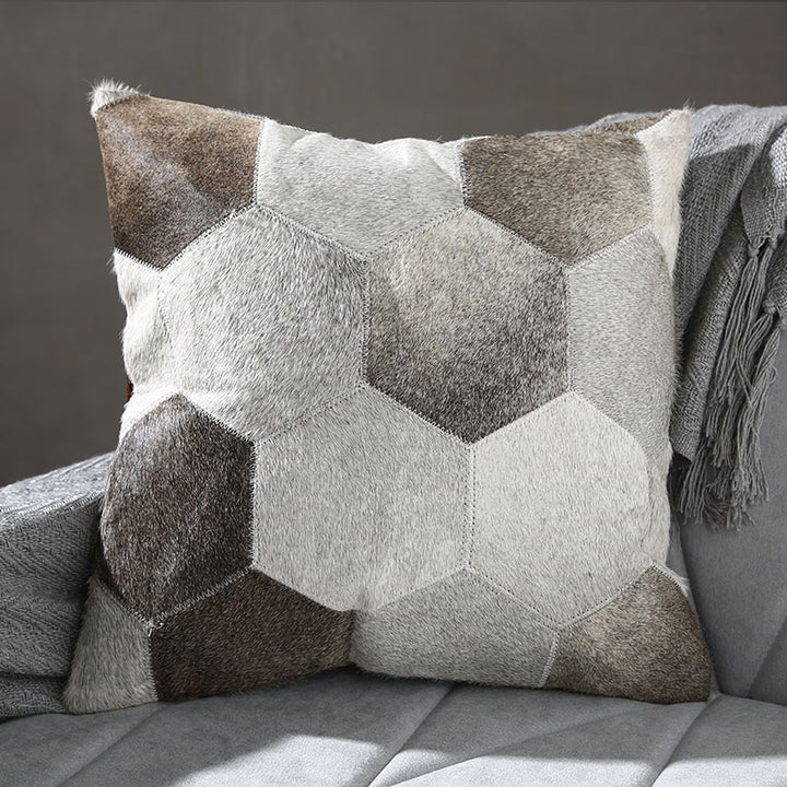 Geometric Grey Patchwork Hide Throw Cushion - Staunton and Henry