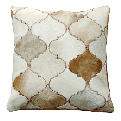 Minaret Cream and Fawn Patchwork Hide Cushion - Staunton and Henry
