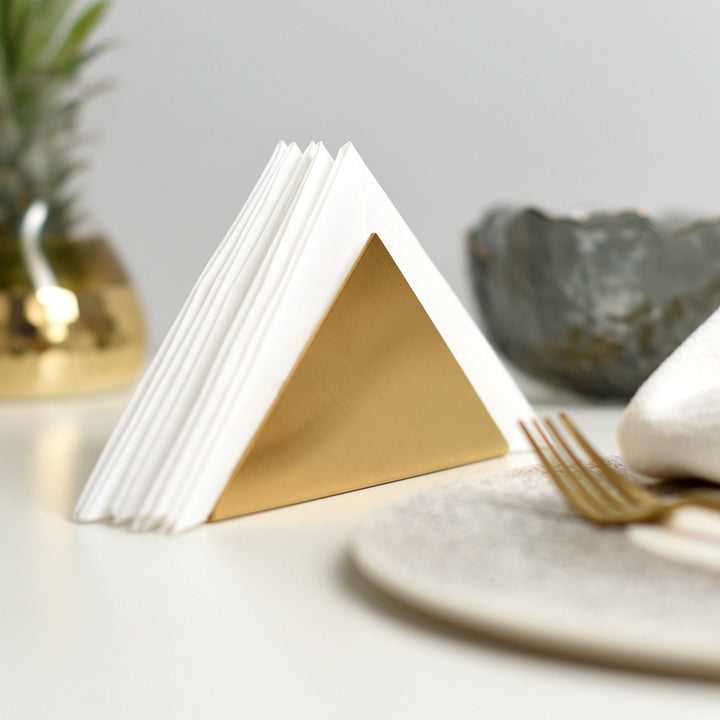 Triangular Gold Napkin Holder - Staunton and Henry