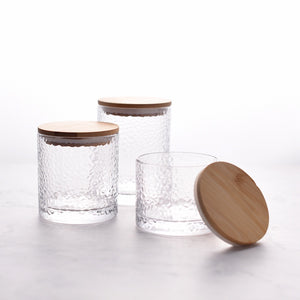 Dimpled Glass Kitchen Condiment Jar - Staunton and Henry