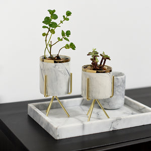 Mini Marble Pattern Planter with Gold Stand - Staunton and Henry