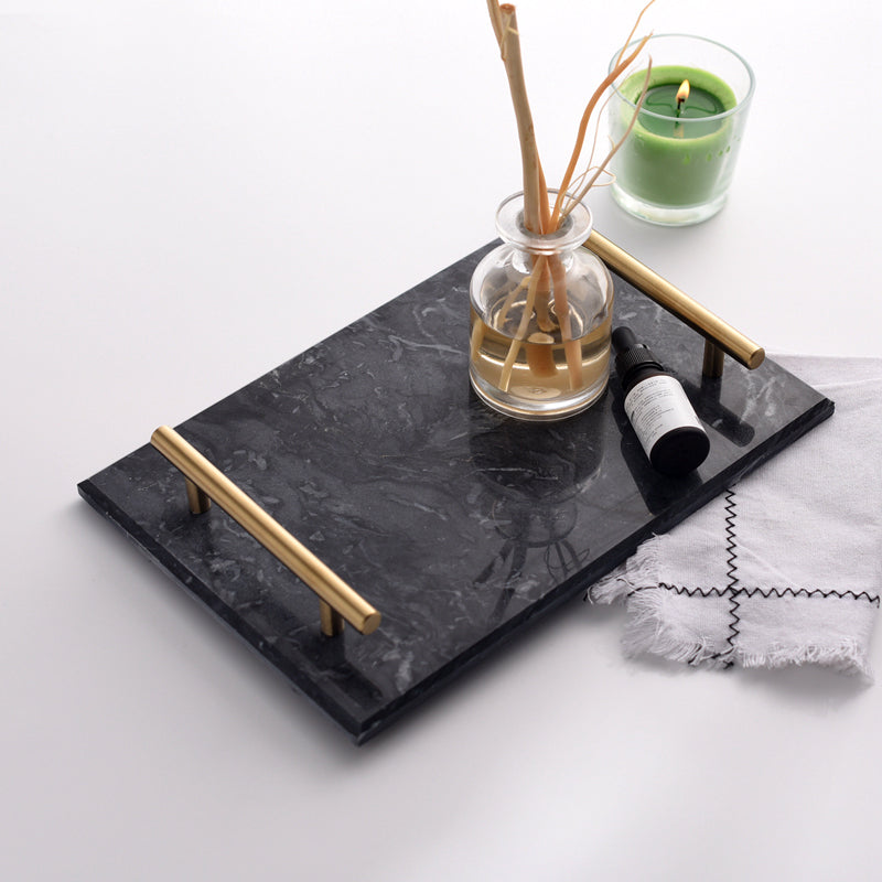 Solid Marble Serving Tray with Gold Handles - Staunton and Henry
