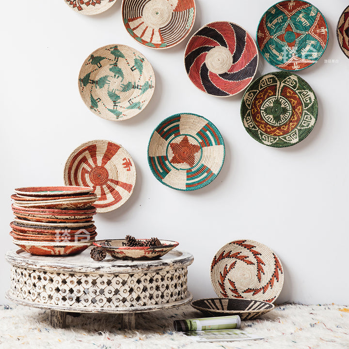 Decorative Tribal Woven Straw Bowls - Staunton and Henry