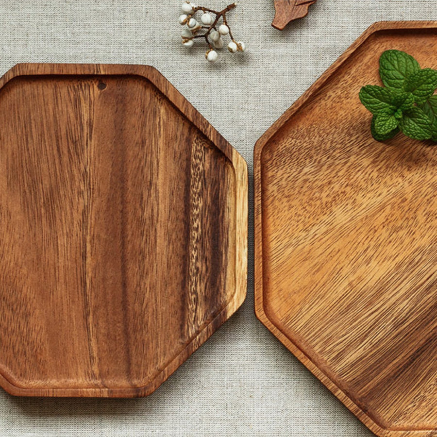 Acacia Wood Hexagon Serving Tray - Staunton and Henry