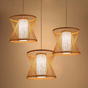 Double Cone Japanese Bamboo Ceiling Light - Staunton and Henry