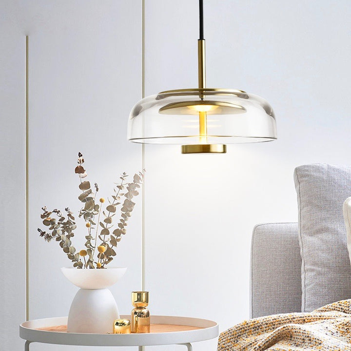 Future Deco Brass and Glass Ceiling Light - Staunton and Henry