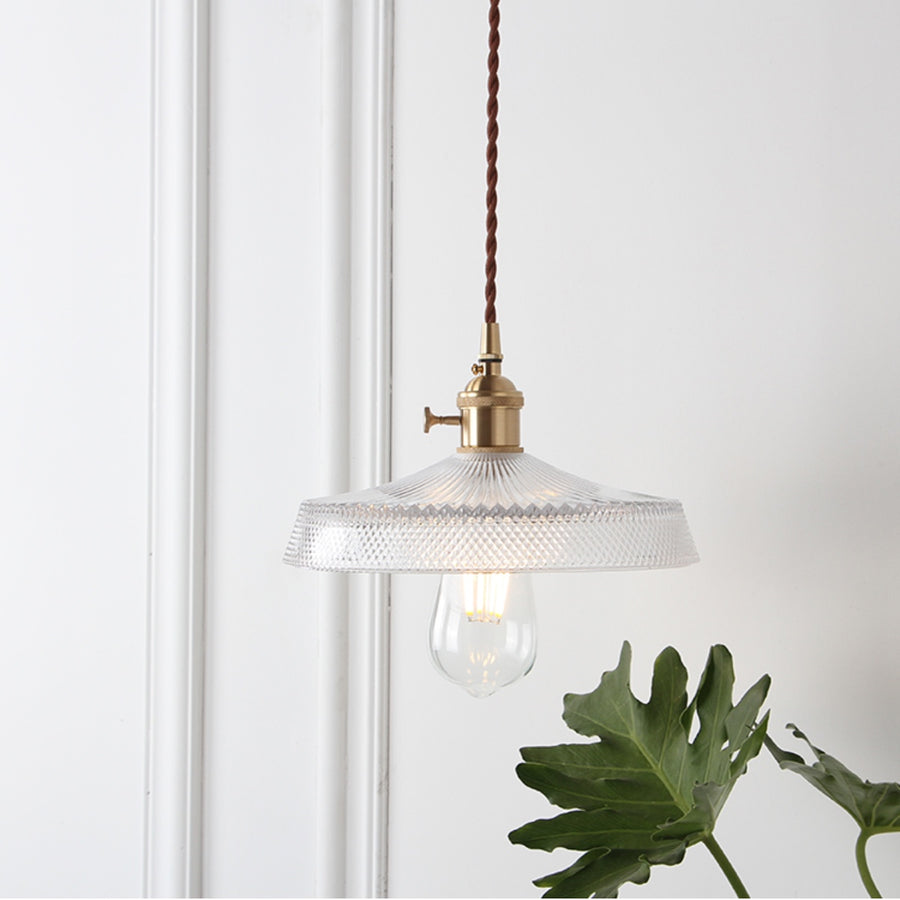 Vintage Glass and Brass Pendant Light - Staunton and Henry