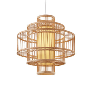 Modern Japanese Bamboo Cage Chandelier - Staunton and Henry