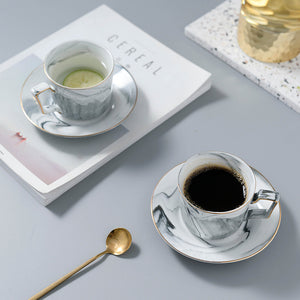 White Marble Tea Cup and Saucer - Set of 2 - Staunton and Henry