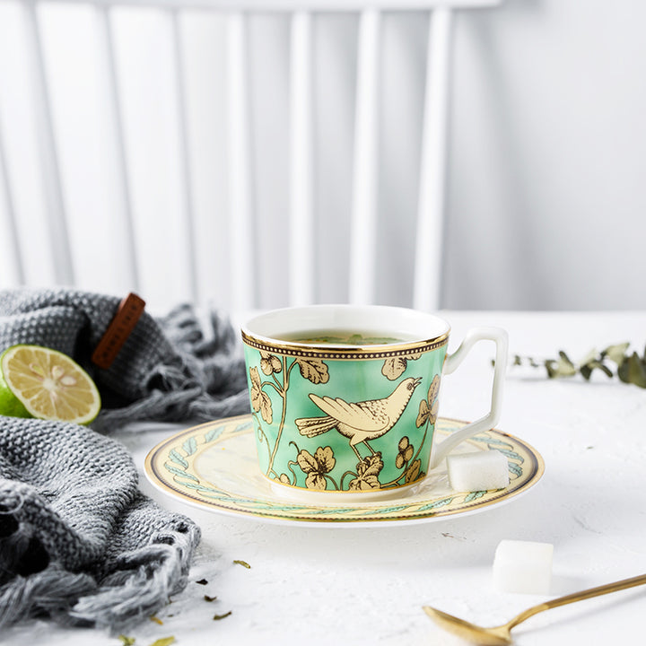 Persian Green and Gold Tea Cup and Saucer - Set of 2 - Staunton and Henry