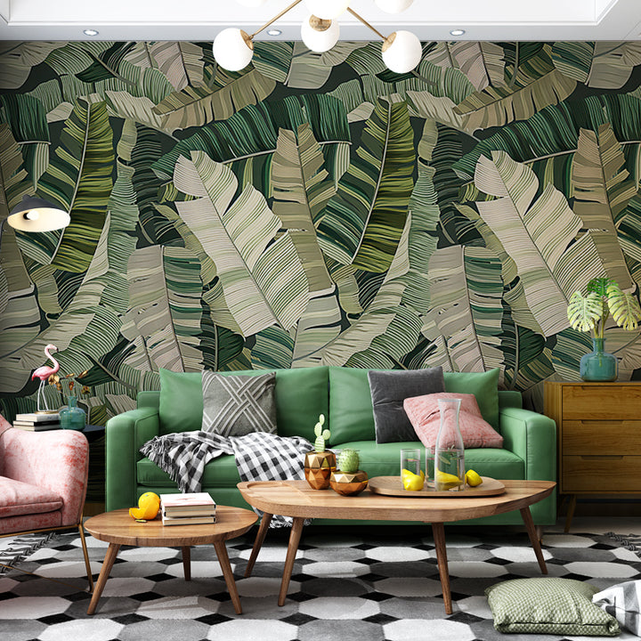 Dark Green Plantation Leaf Wallpaper - Staunton and Henry