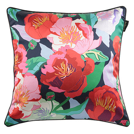 Colorful Oriental Peony Throw Cushion - Staunton and Henry